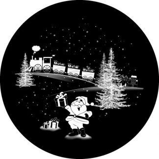 gobo scala di grigio babbo natale pacchi regalo albero di natale trenino gobo natalizio
