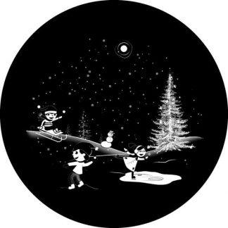 gobo scala di grigio babbo natale bambini che giocano pattinano pacchi regalo albero di natale neve gobo natalizio