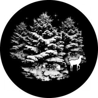 gobo scala di grigio alberi innevati renna gobo natalizio