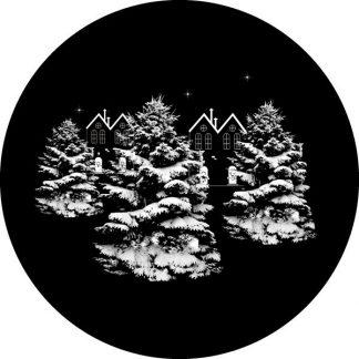gobo scala di grigio alberi innevati renna case gobo natalizio