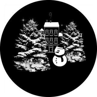 gobo scala di grigio alberi innevati case pupazzo di neve gobo natalizio
