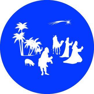 gobo 1 un uno colore madonna con bambino presepe presepio natività gobo natalizio blu