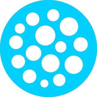 gobo bianco e nero motivi geometrici azzurro ciano