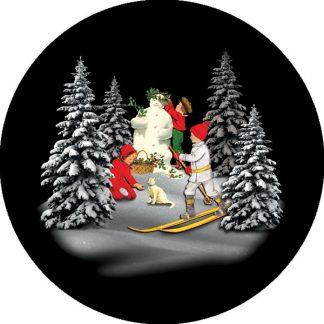 gobo quattro colori natale vintage pini innevati neve bambini pupazzo di neve