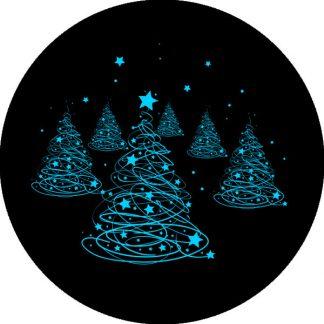 gobo due colori pini natale geometrico azzurro ciano blu albero di natale