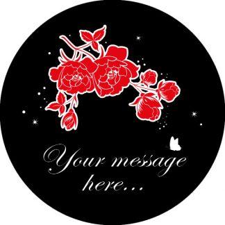 gobo due colori fiori rose rosso nero testo messaggio personalizzato