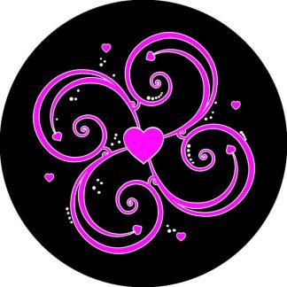 gobo due colori motivi geometrici cuore magenta rosa e nero