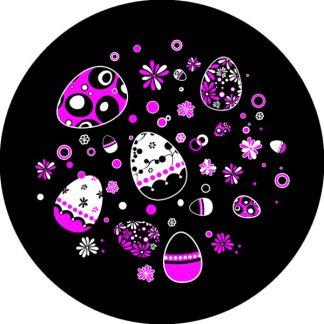 gobo due colori uova di pasqua fiori rosa magenta nero tema Pasqua