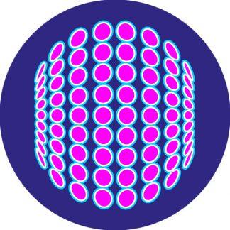 gobo due colori cerchi pallini ciano e magenta blu motivi geometrici