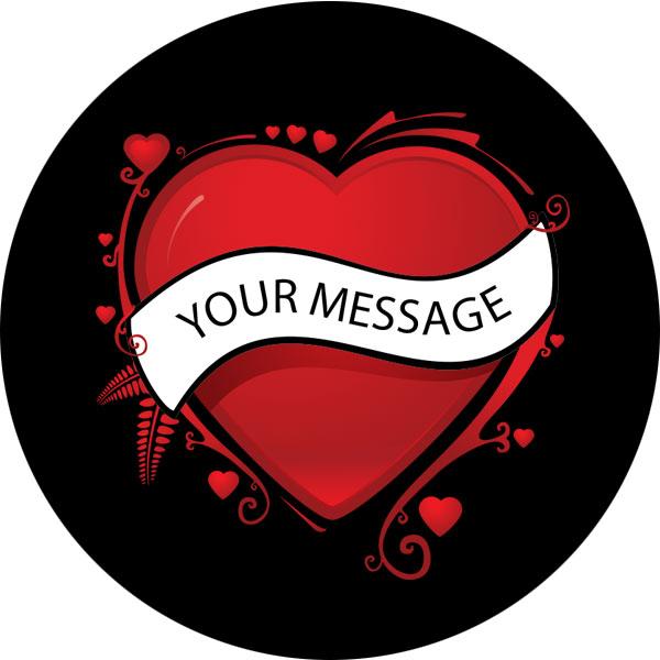 due colori gobo cuore san valentino messaggio testo personalizzato rosso nero